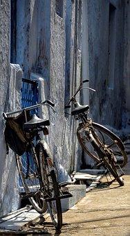 Bicycle, Black, Parked, Street, Old, Wheel, Wood, Iron
