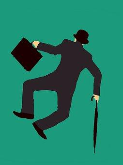 Businessman, Heels, Isolated, Jumping, Kicking