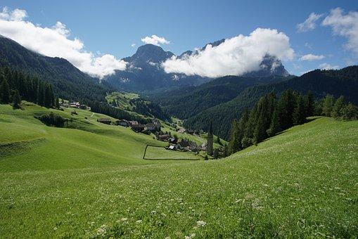 Nature, Mountain, Panorama, Landscape, Grass, La Val