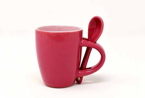 Cup, Coffee, Spoon, Porcelain, Coffee Cup, Henkel, Red