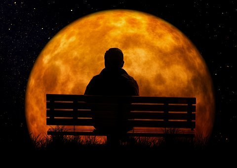Moon, Age, Man, Person, Bank, Sit, Viewing, Old Man