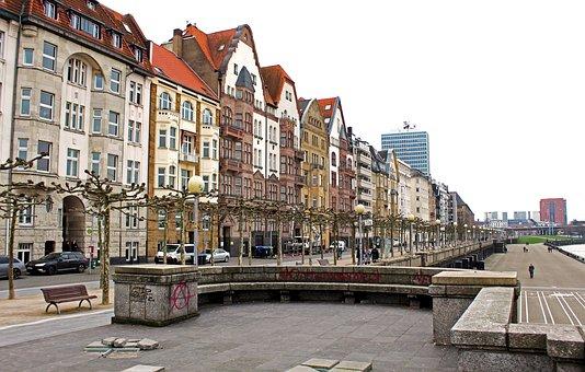 Architecture, City, Travel, Road, Street Scene, Rhine