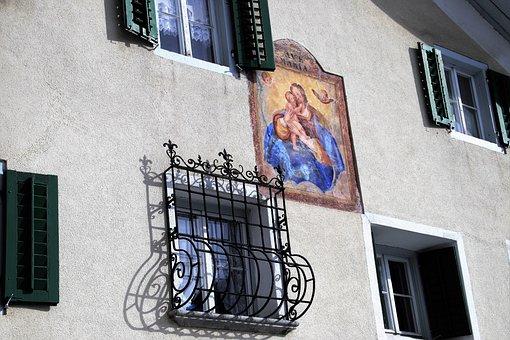 Facade, Fresco, The Window, Shutters, Window, Monument