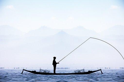 Fisherman, Boat, Lake, Winter, Blue, Water, Fishing