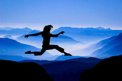 Design, Woman, Jumping, Mountain, Cover, Looking
