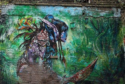 Graffiti, Street, Wall, Art, London, Female, Warrior