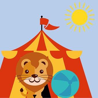 Sketch, Child, Fun, Lion, Circus, Aark, Aarkanum, Ball