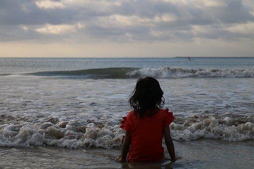 Sea, Water, Beach, Seashore, Ocean, Girl, Bali
