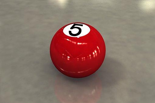 Ball 5, Billiards, Sphere, 3d