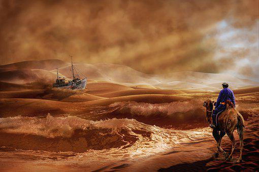 Ship, Camel, Desert, Waves, Nomad, Breakwater, Wordplay
