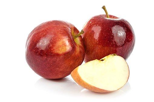 Fruit, Eating, Juicy, Healthy, Apple, Mature, Red, Half