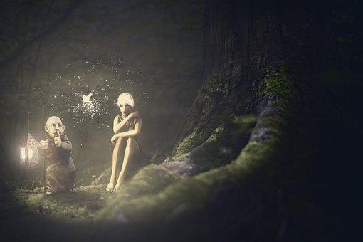 Composing, Elves, Forest, Lantern, Fairytale, Fantasy