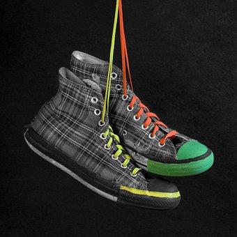 Footwear, Shoe, Foot, Tartan, Sneakers, Chuck's, Punk