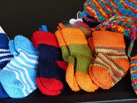 Socks, Knitted, Colorful, Wool, Handmade, Winter
