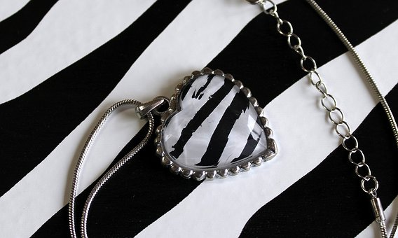 Pendant, Heart, Strips, Jewelry, Black And White
