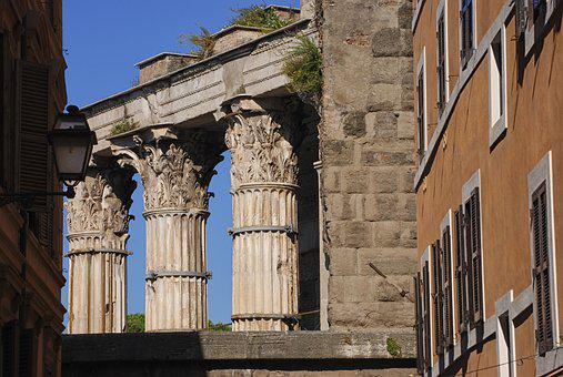 Roma, Italy, Roman Columns, Architecture, Old, Ancient