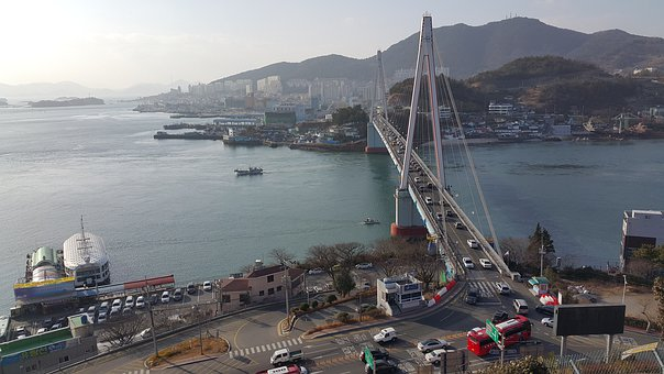 Water, Sea, Winter Sea, Bridge, Landscape, Yeosu