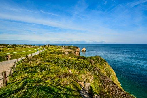 Nature, Sky, Seashore, Travel, Panoramic, Pointe Du Hoc