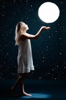 Moon, Star, Girl, Child, Space, Sky, Night, Blue