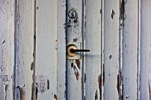 Door, Garage Door, Plank, Flaking Paint, Neglect, Old
