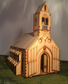 Church, Religion, Architecture, Wood, House, Diorama