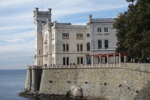 Castle, Miramar, Trieste, Palace, Landscape, Sea, View