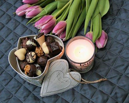 Chocolates, Valentine's Day, Tulips, Flowers, Love