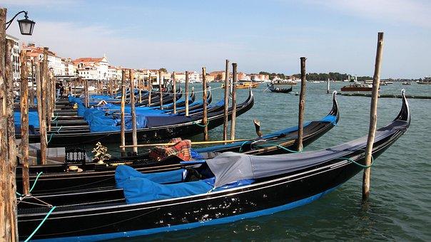 Gondolas, Venice, Waters, Boot, Sea, Travel, Port