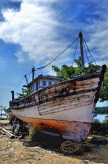 Old, Wooden, Boat, Trawler, Dry Dock, Fishing, Vessel