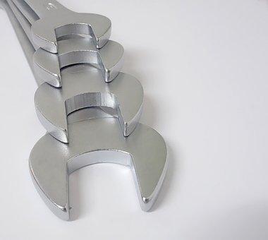 Wrench, Chrome, Steel, Spanner, Screw, Tool, Workshop