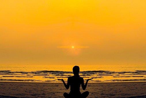 Woman, Girl, Yoga, Relaxation, Meditation, Silhouette