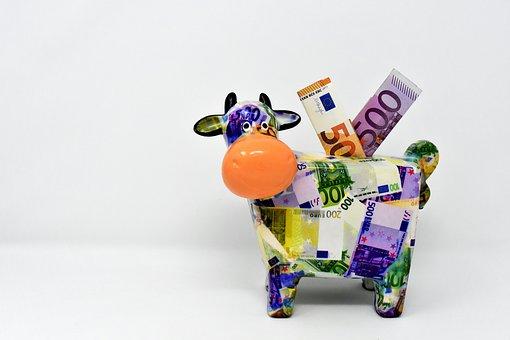 Piggy Bank, Money, Cow, Dollar Bill, 500 Euro, 50 Euro