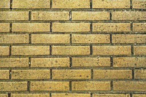 Brick Wall, Yellow Brick Wall, Wall, Brickwork, Masonry