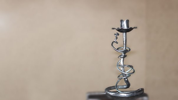 Metal, Forged, Candlestick, Stylish