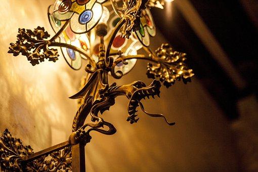 Gold, Modernism, Lamp, Barcelona, Inside, Bronze
