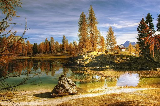 Nature, Autumn, Lake, Tree, Waters, Landscape, Sky
