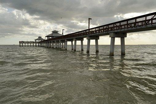 Water, Sea, Pier, Ocean, Gulf Of Mexico, Gulf