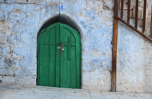 Israel, Jerusalem, Old City, Wall, Green, Door