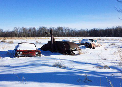 Auto, Vehicle, Abandoned, Rust, Old, Snow
