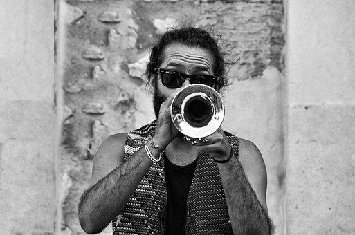 People, Adult, Portrait, Man, Trumpet, Sunglasses