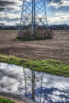 Strommast, Puddle, Mirroring, Reflection, Power Poles