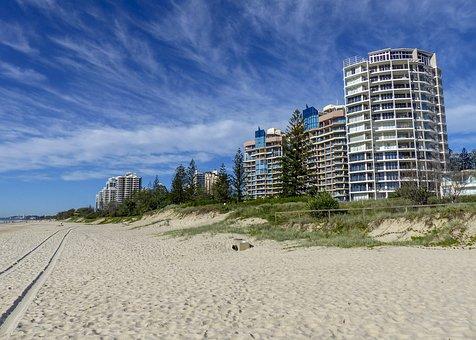 Gold Coast, Australia, Beach, Sand, High Rise