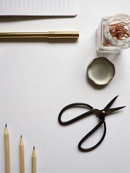 Desktop, Stationary, Pen, Pencil, Scissors, Simple