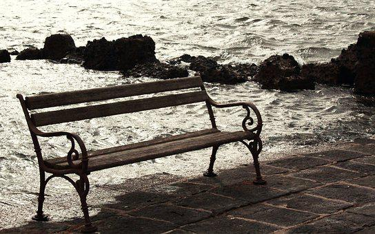 Bench, Love, Sea, Waters, Nature, Landscape, Winter