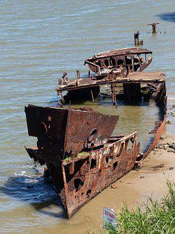 Ship, Wreck, Rusty, Sea, Boat, Ocean, Shipwreck, Water