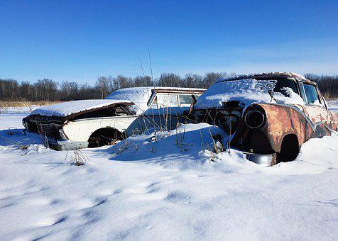 Vehicle, Auto, Old, Abandoned, Rust, Snow, Automobile