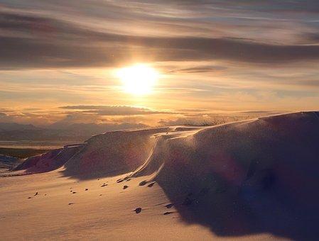 Sunset, Winter Evening, Snow, Snowdrifts, Shadow
