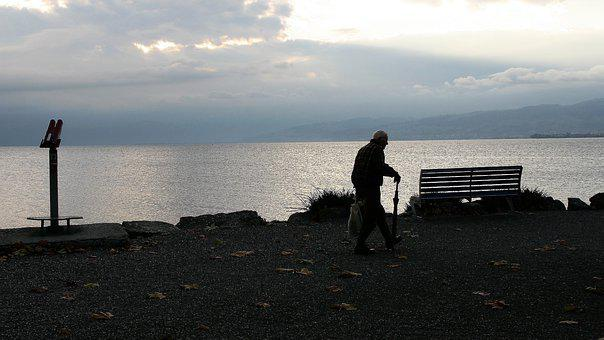 Dawn, Morning, Sunrise, Senior, Older Person, Lonely