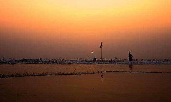 Sunset, Dawn, Water, Dusk, Evening, Silhouetted, Beach