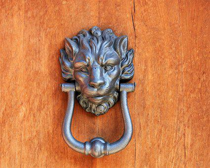 The Door, Door Handle, Old, Sculpture, Lion, Rudy